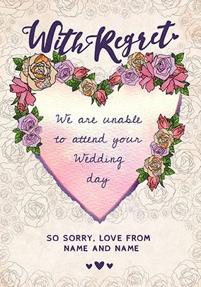 Rosa With Regret Wedding Day Card
