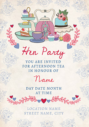 Tea Party Personalised Hen Party Invitation Card Funky Pigeon