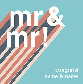 Congrats Mr & Mr personalised Wedding Card