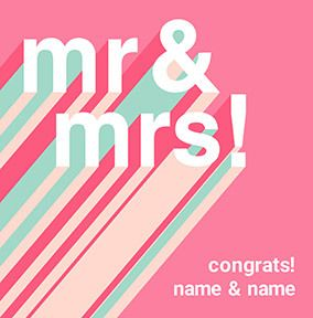 Congrats Mr & Mrs personalised Wedding Card