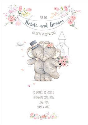 Bride and Groom Wedding Day Personalised Card
