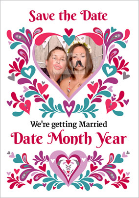 Folklore - Save the Date Card Heart Photo Upload