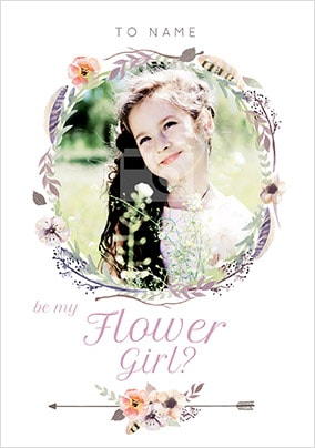 Be My Flower Girl? Photo Wedding Card