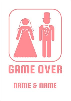 Game Over Personalised Wedding Card