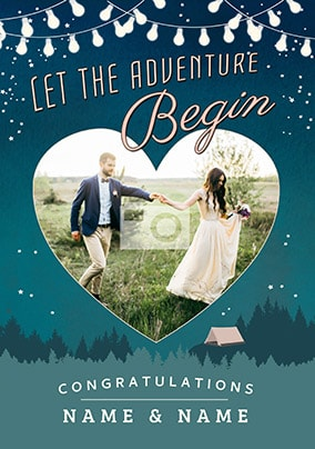 Let The Adventure Begin - Photo Wedding Card