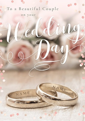 Photographic Wedding Bands Personalised Card
