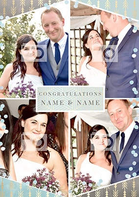 Congratulations Multi Photo Wedding Card