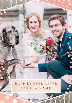 Happily Ever After Photo Wedding Card
