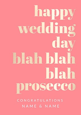 Happy Wedding Day Blah Blah Prosecco Personalised Card