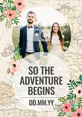 The Adventure Begins Photo Wedding Card