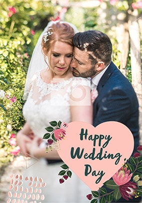 Full Photo with Pink Heart Wedding Card