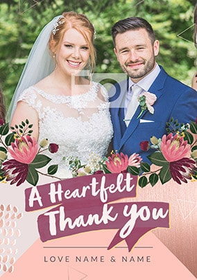 A Heartfelt Thank You - Wedding Photo Card