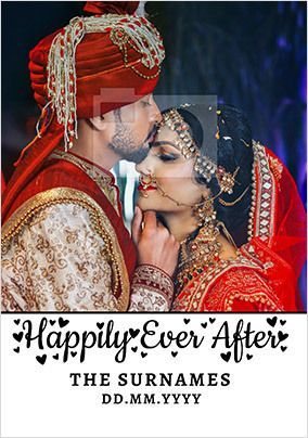 Happily Ever After photo upload Wedding Card