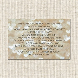 Wedding Invitations Gift Poem Cards Funky Pigeon